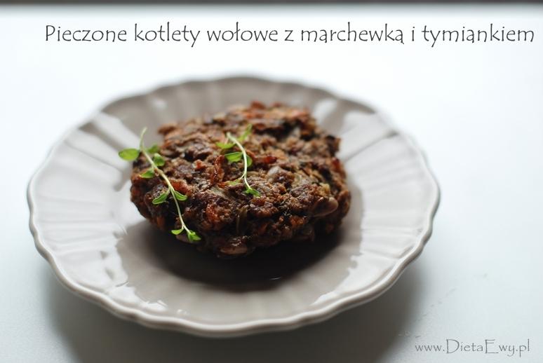 Pieczone kotlety wołowe z marchewką