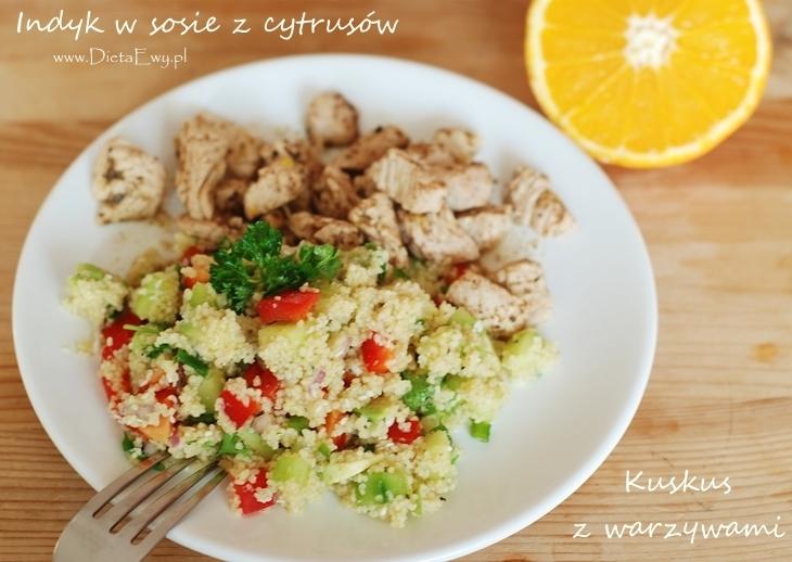 Kuskus z warzywami i indyk w soku z cytrusów
